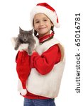 Little girl in Christmas hat with gray kitty, isolated on white - stock photo