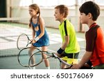 happy girl and boys playing... | Shutterstock . vector #650176069
