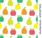 seamless pattern with fruits in ... | Shutterstock .eps vector #650187181