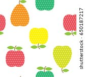 seamless pattern with fruits in ... | Shutterstock .eps vector #650187217