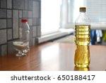 a bottle of vegetable oil on... | Shutterstock . vector #650188417