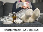 cold medicine and sick woman... | Shutterstock . vector #650188465