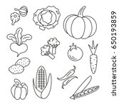 vegetable icons  thin... | Shutterstock .eps vector #650193859