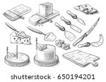 a set of knives for cheese.... | Shutterstock .eps vector #650194201