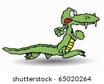 green crocodile run in isolated ...   Shutterstock . vector #65020264