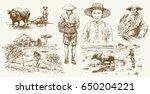 asian farmers working on field. ... | Shutterstock .eps vector #650204221