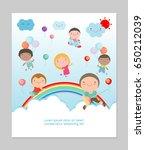 kids party  happy on sky ... | Shutterstock .eps vector #650212039