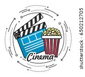 clapperboard with popcorn to... | Shutterstock .eps vector #650212705