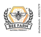 bee farm vintage label isolated ... | Shutterstock .eps vector #650217379