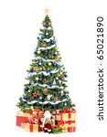 christmas tree and gifts. over... | Shutterstock . vector #65021890