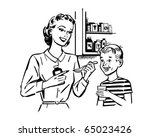 Mom Giving Medicine To Son  ...