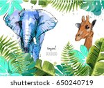 background with tropical leaves ... | Shutterstock .eps vector #650240719
