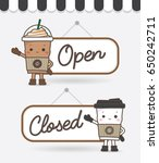 open and closed cafe coffee...