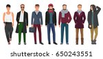 handsome and stylish men set.... | Shutterstock .eps vector #650243551