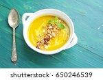 pumpkin soup with granola on a... | Shutterstock . vector #650246539