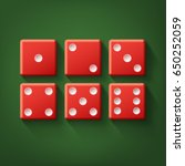 vector set of red casino dice... | Shutterstock .eps vector #650252059