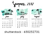 summer 2017 calendar with ink... | Shutterstock .eps vector #650252731