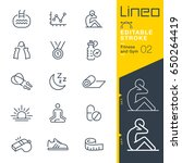 Stock vector lineo editable stroke fitness and gym line icons vector icons adjust stroke weight expand to 650264419