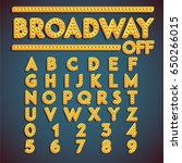 yellow 'broadway' font with... | Shutterstock .eps vector #650266015