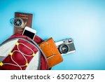 traveler backpack with travel... | Shutterstock . vector #650270275