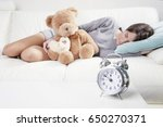 girl sleeping or napping happy... | Shutterstock . vector #650270371