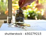 coins saving in bottle concept...   Shutterstock . vector #650279215