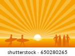silhouette surfer carrying... | Shutterstock .eps vector #650280265