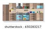 kitchen flat design  kitchen... | Shutterstock .eps vector #650283217