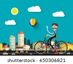 man on bicycle in the city with ... | Shutterstock .eps vector #650306821