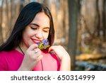 portrait of a beautiful lovely... | Shutterstock . vector #650314999