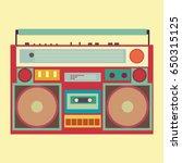 vintage boombox banner vector... | Shutterstock .eps vector #650315125