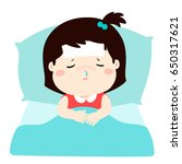 little sick girl sleep in bed... | Shutterstock .eps vector #650317621