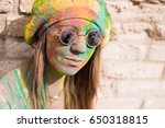 young hippie woman with... | Shutterstock . vector #650318815