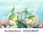 lemonade with fresh lemon with... | Shutterstock . vector #650318839