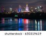 night panorama of warsaw... | Shutterstock . vector #650319619