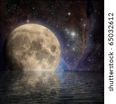 large moon with reflection in... | Shutterstock . vector #65032612