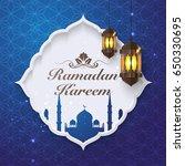 ramadan kareem label decor with ... | Shutterstock .eps vector #650330695
