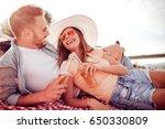 young couple in love.honeymoon... | Shutterstock . vector #650330809