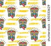 tiki pattern polynesian tikis... | Shutterstock .eps vector #650333629