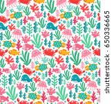 seamless pattern with funny sea ... | Shutterstock . vector #650336665