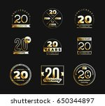 20th anniversary logo set with... | Shutterstock .eps vector #650344897
