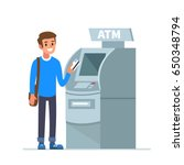 Man Customer Standing Near Atm...