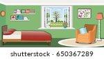 cute bedroom interior design... | Shutterstock .eps vector #650367289