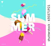 "word ""summer"" with colorful ice ... 