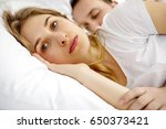 insomnia problems in bed. | Shutterstock . vector #650373421