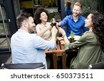cheerful young people have... | Shutterstock . vector #650373511