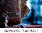 old retro leather photo album... | Shutterstock . vector #650375167