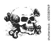 human skull and cross bones.... | Shutterstock .eps vector #650380969