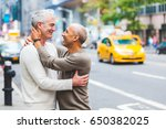 gay couple in new york with... | Shutterstock . vector #650382025