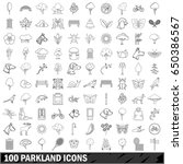 100 parkland icons set in... | Shutterstock . vector #650386567